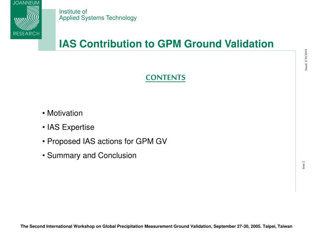 IAS Contribution to GPM Ground Validation