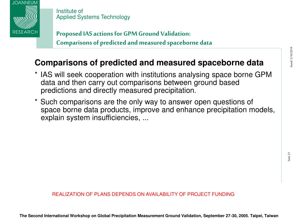 Proposed IAS actions for GPM Ground Validation: