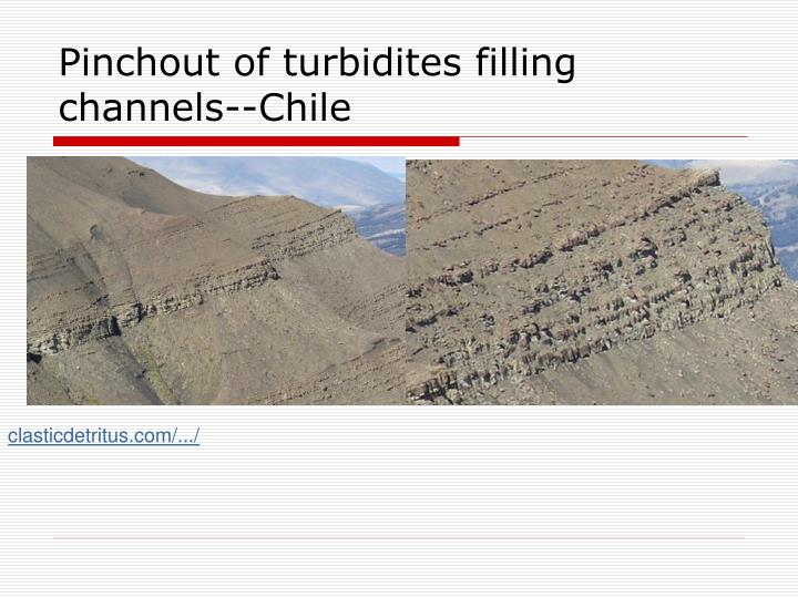 Pinchout of turbidites filling channels--Chile