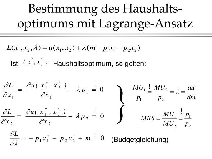 Bestimmung des Haushalts-optimums mit Lagrange-Ansatz