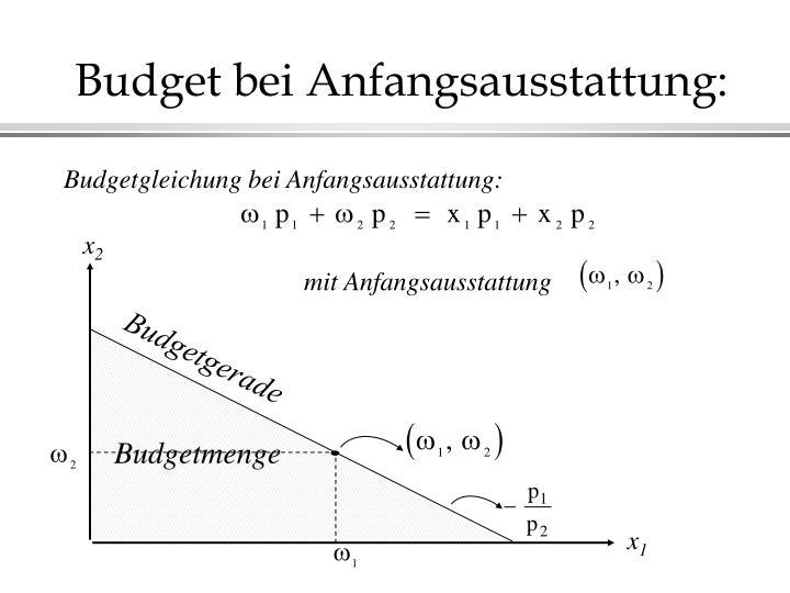 Budget bei Anfangsausstattung: