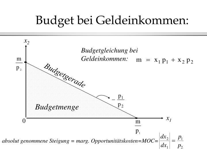 Budget bei Geldeinkommen: