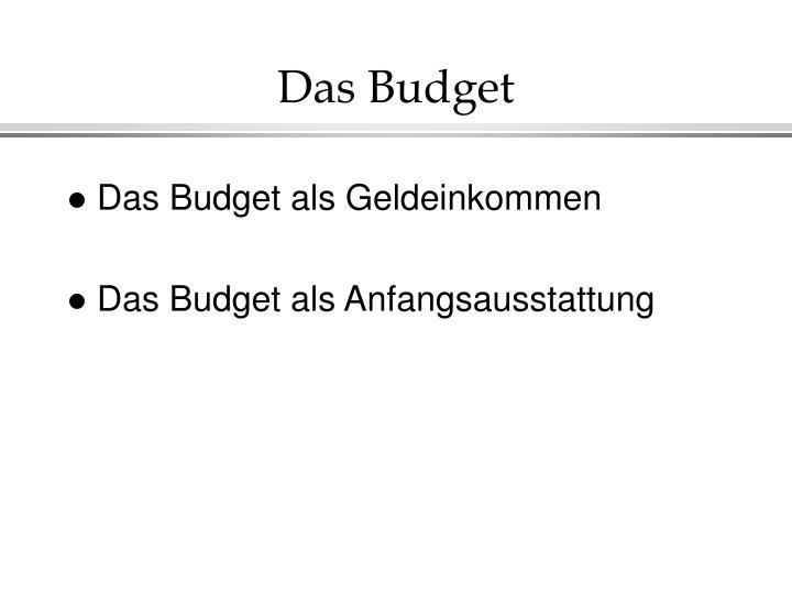 Das Budget