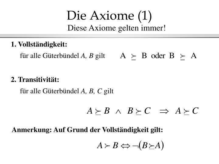 Die Axiome (1)