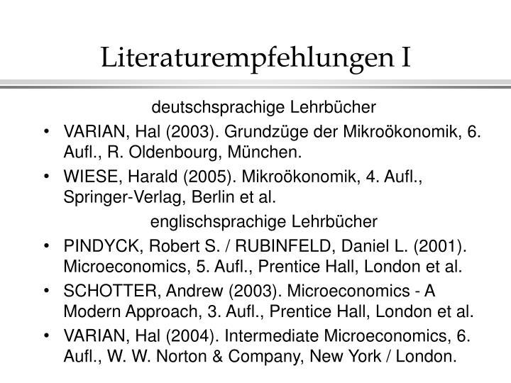Literaturempfehlungen I