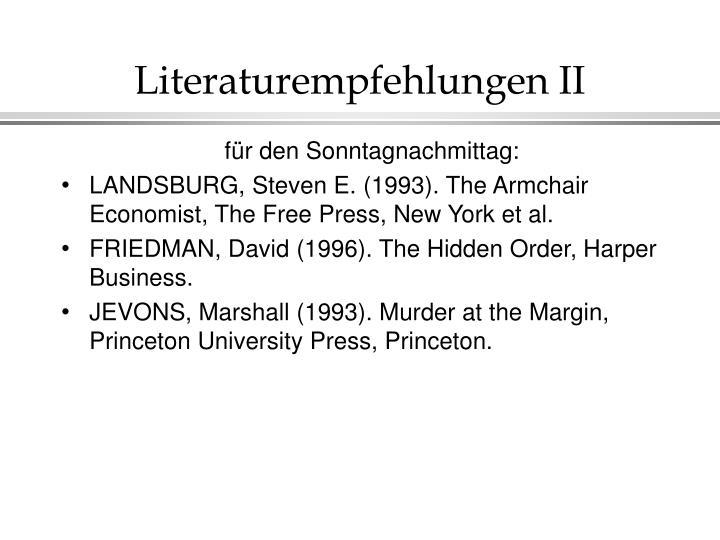 Literaturempfehlungen II