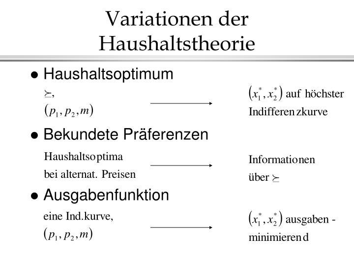 Variationen der Haushaltstheorie