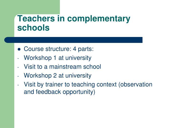 Teachers in complementary schools