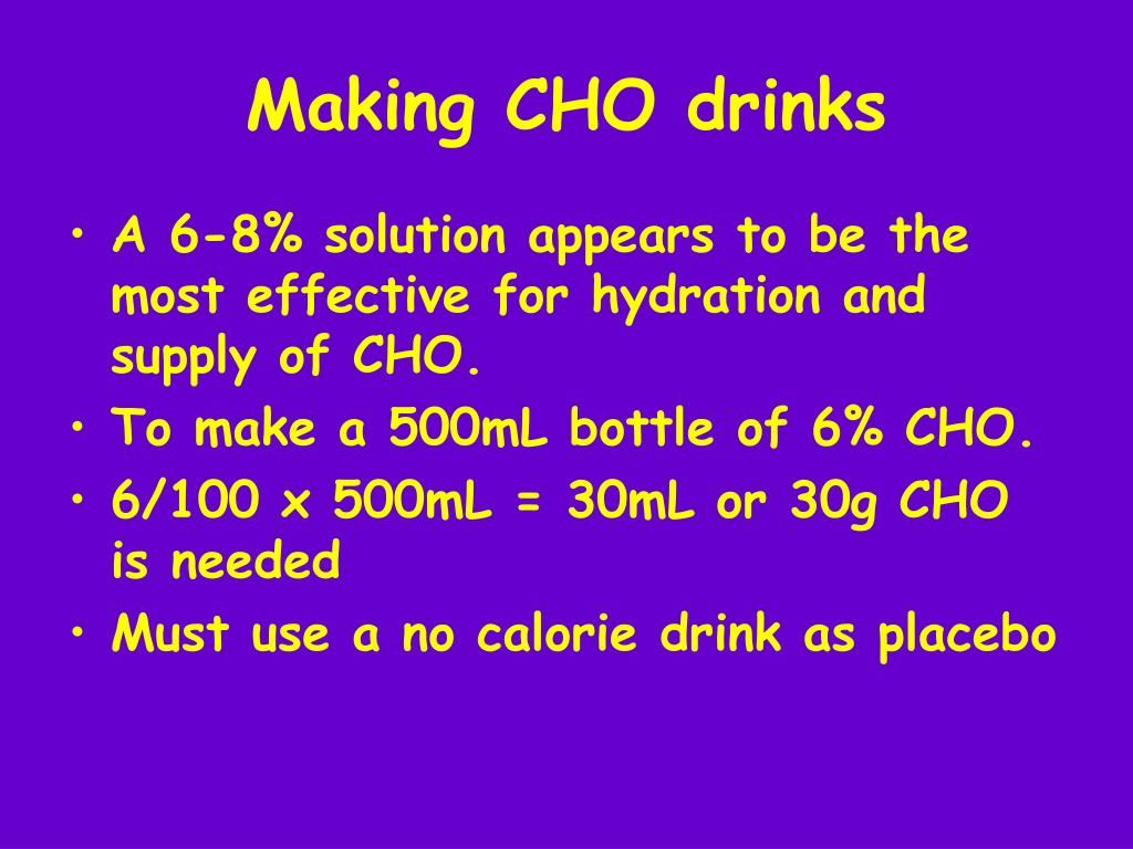 Making CHO drinks