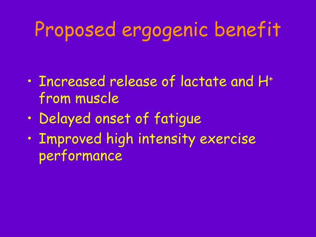 Proposed ergogenic benefit