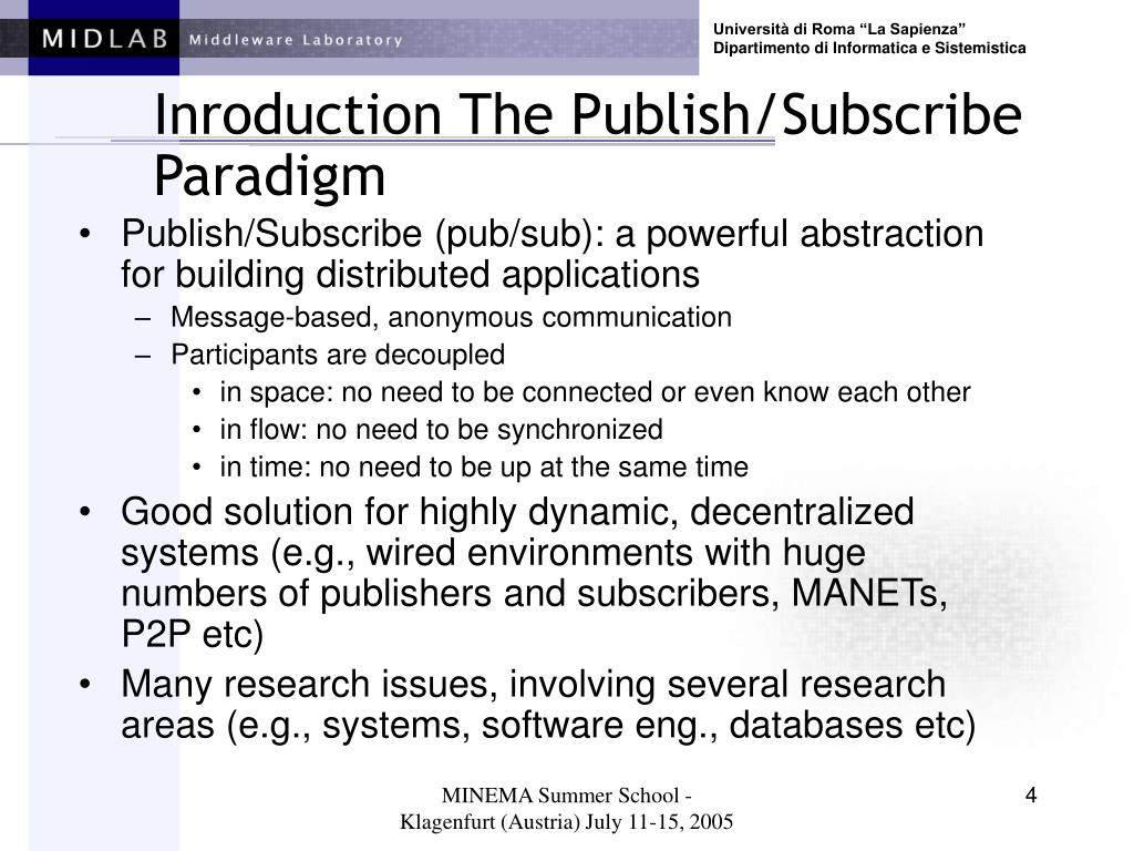 Inroduction The Publish/Subscribe Paradigm