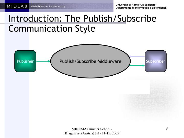 Introduction the publish subscribe communication style l.jpg