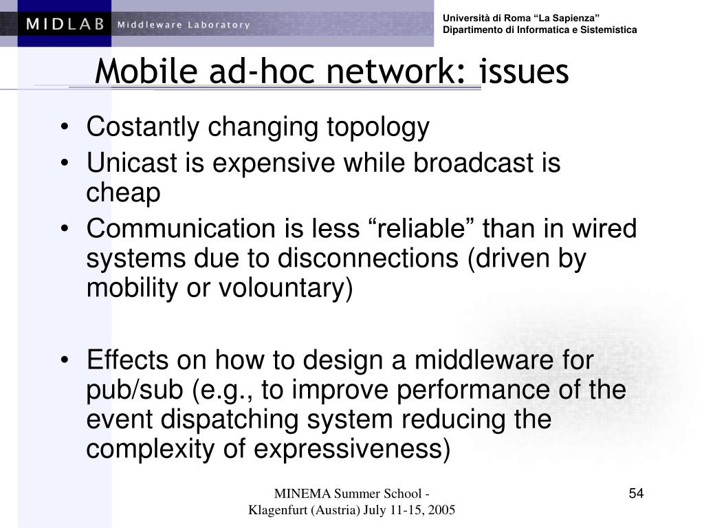 Mobile ad-hoc network: issues