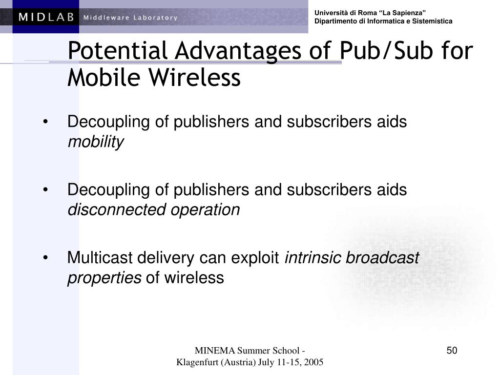 Potential Advantages of Pub/Sub for Mobile Wireless