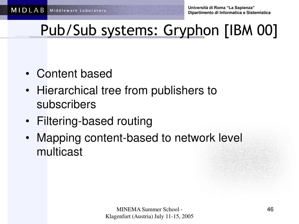 Pub/Sub systems: Gryphon [IBM 00]