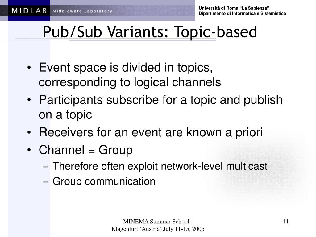 Pub/Sub Variants: Topic-based