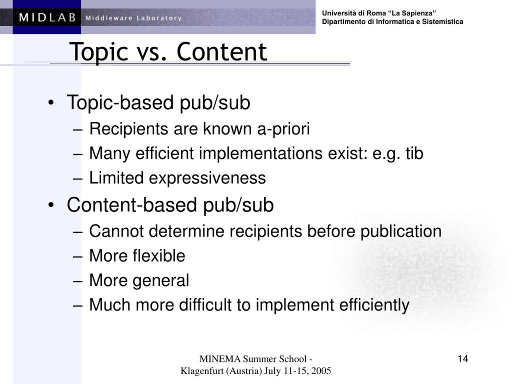 Topic vs. Content