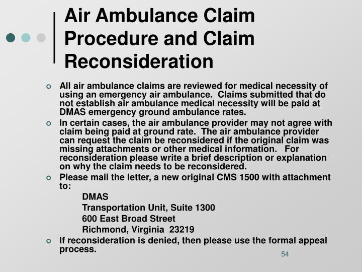 Air Ambulance Claim Procedure and Claim Reconsideration