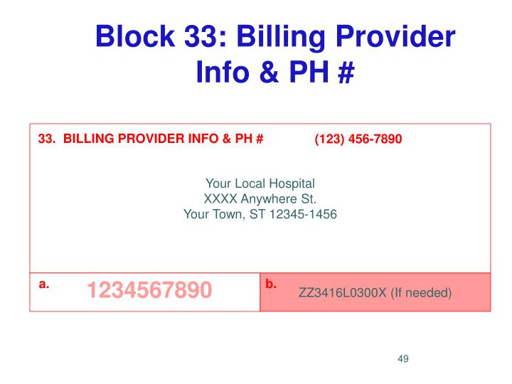 Block 33: Billing Provider Info & PH #