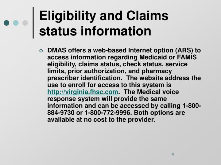 Eligibility and Claims status information