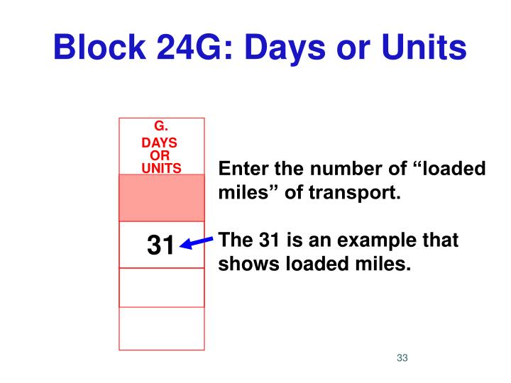 Block 24G: Days or Units