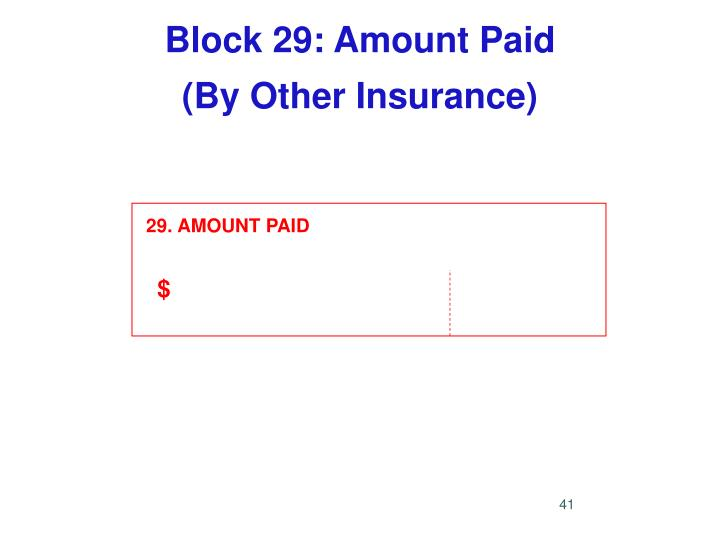 Block 29: Amount Paid