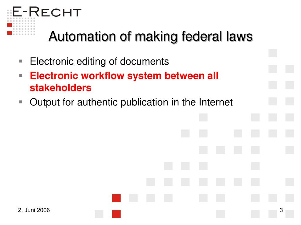 Automation of making federal laws