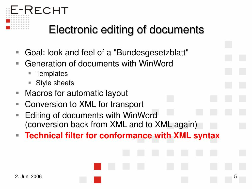 Electronic editing of documents