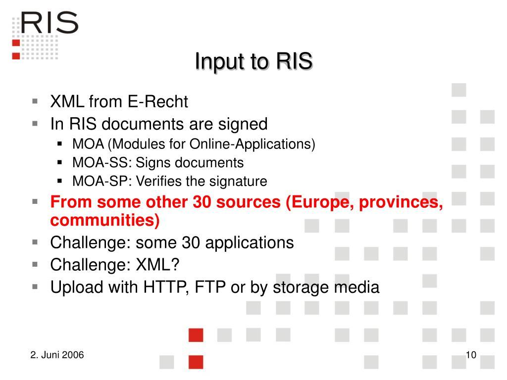 Input to RIS