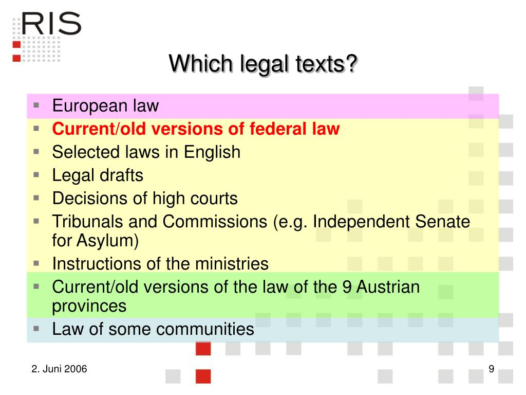 Which legal texts?