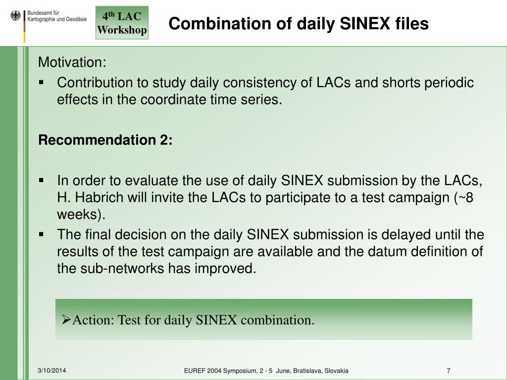 Combination of daily SINEX files