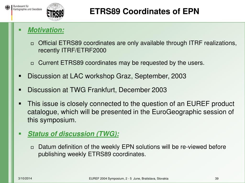 ETRS89 Coordinates of EPN