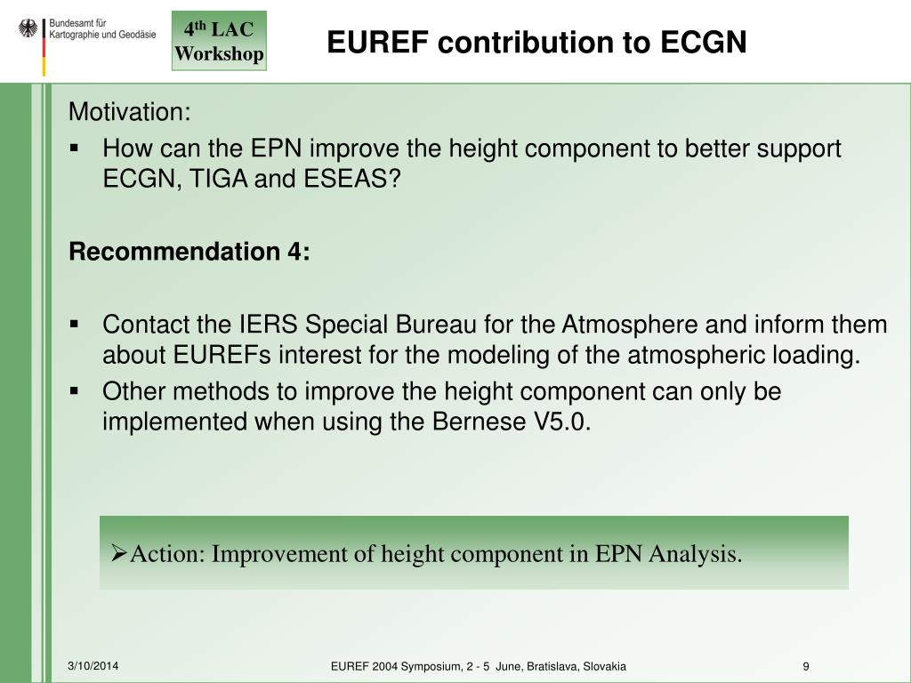 EUREF contribution to ECGN