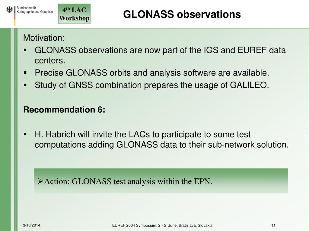 GLONASS observations