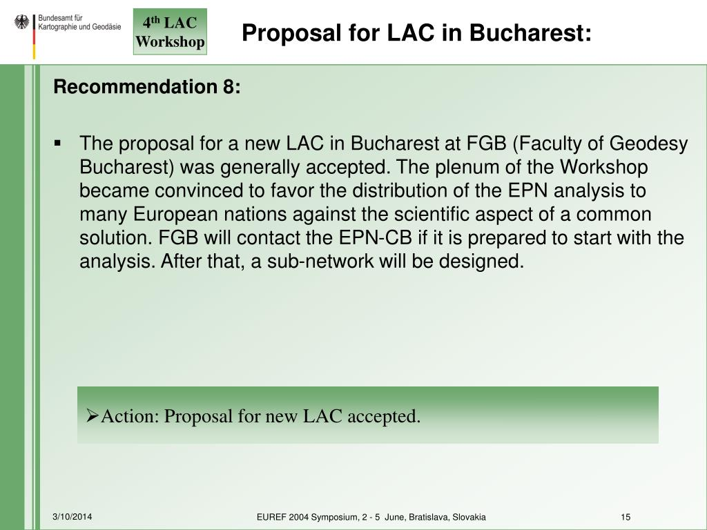 Proposal for LAC in Bucharest: