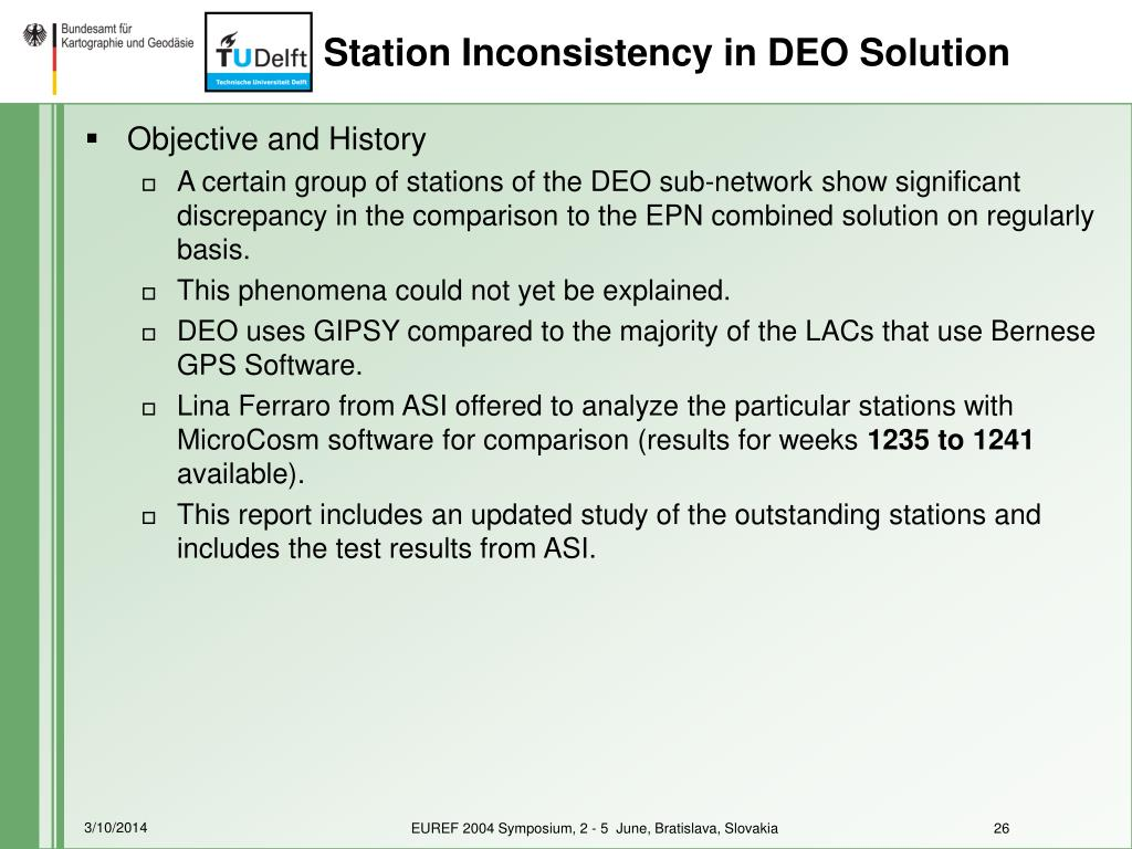 Station Inconsistency in DEO Solution