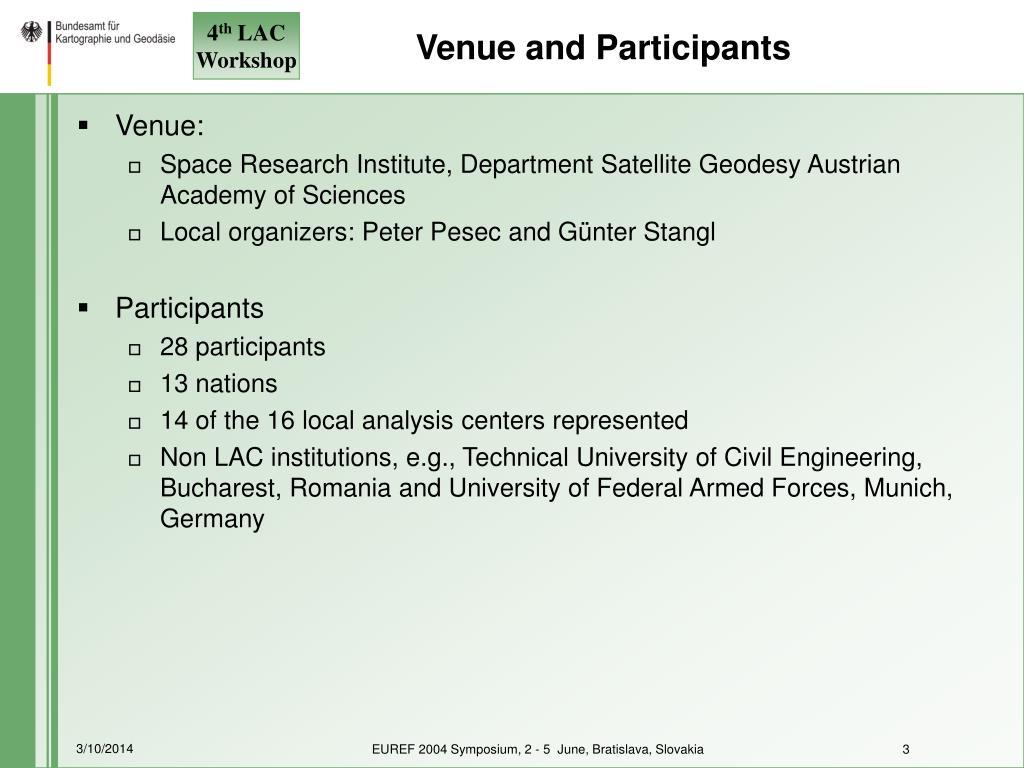 Venue and Participants