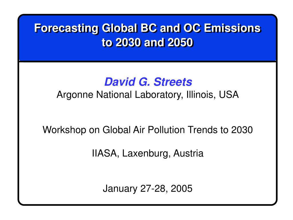 Forecasting Global BC and OC Emissions