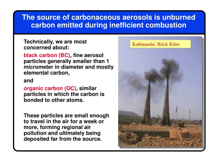 The source of carbonaceous aerosols is unburned carbon emitted during inefficient combustion