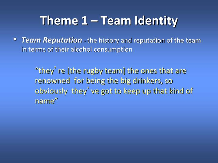 Theme 1 – Team Identity