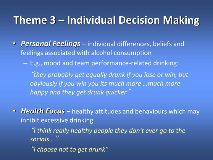 Theme 3 – Individual Decision Making