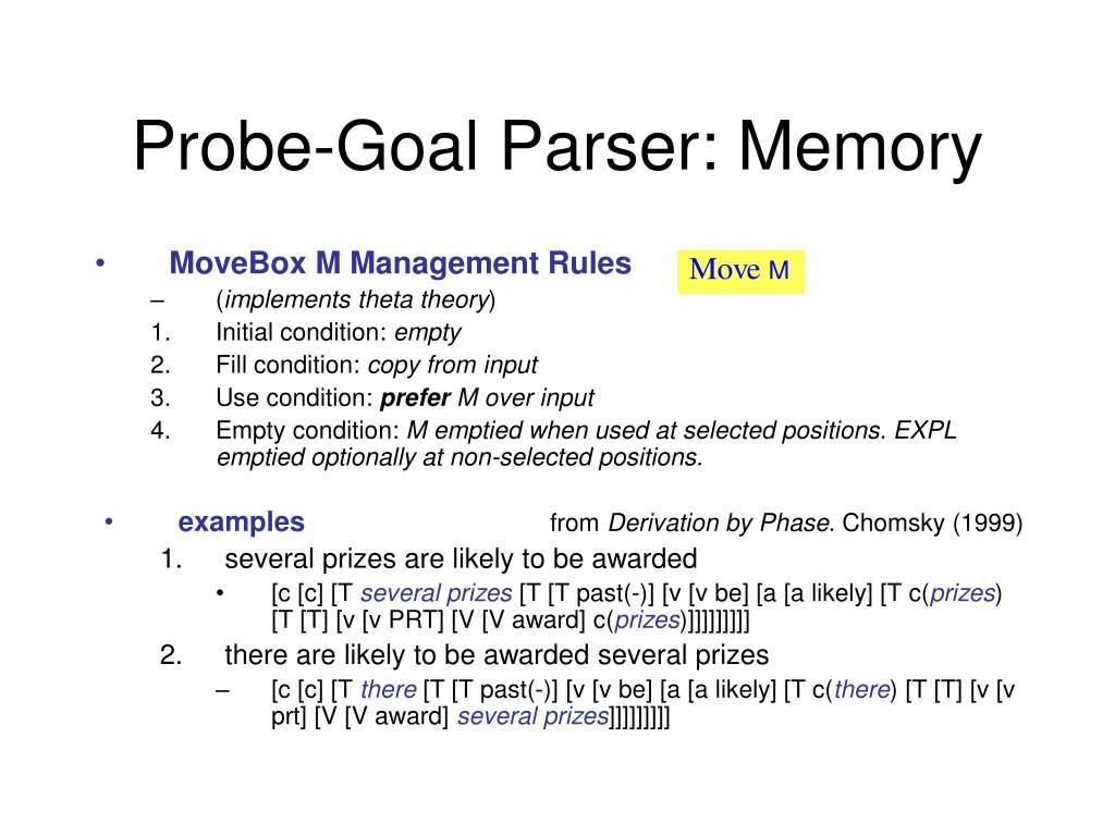 Probe-Goal Parser: Memory