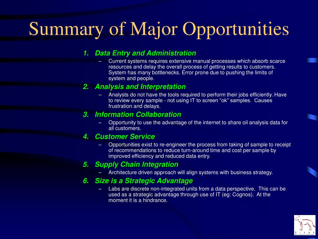 Summary of Major Opportunities