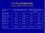 in vivo properties 1 rizza 1982 2 mannucci 2004