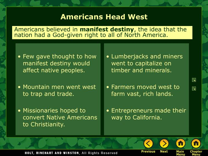 Americans head west