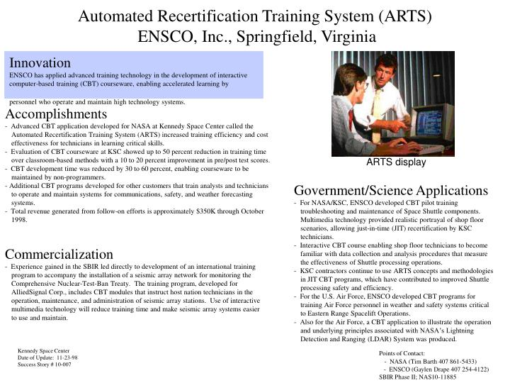 Automated recertification training system arts ensco inc springfield virginia