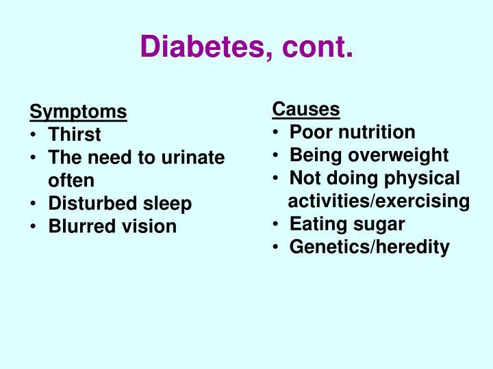 Diabetes, cont.