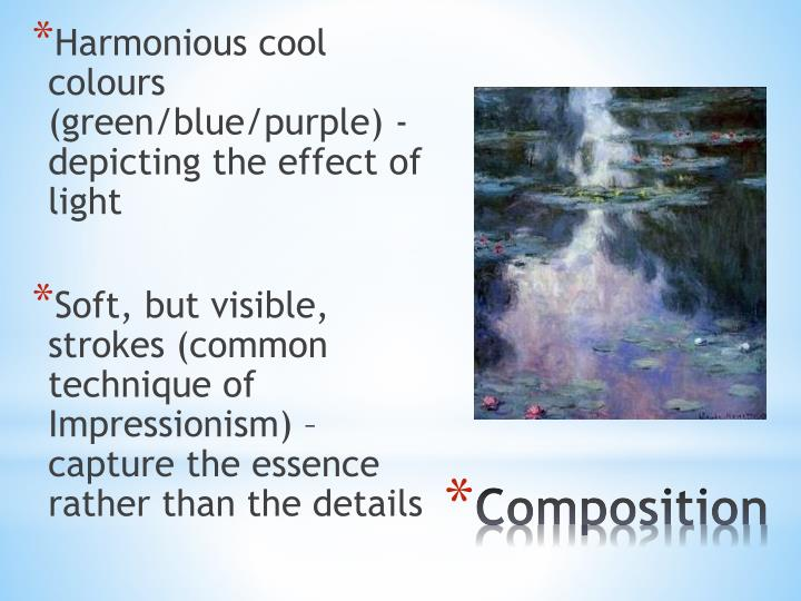 Harmonious cool colours (green/blue/purple) - depicting the effect of light