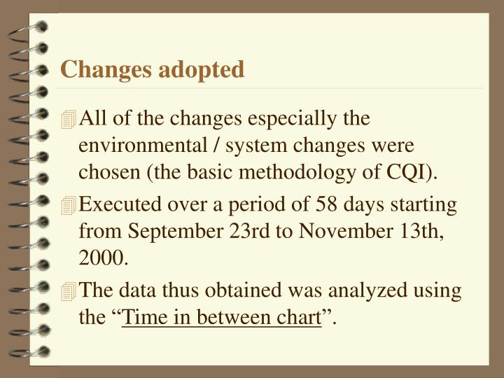 Changes adopted