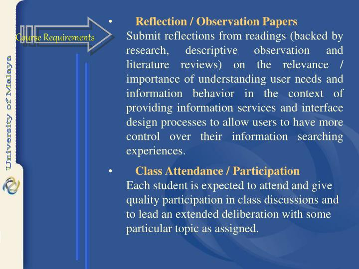 Reflection / Observation Papers